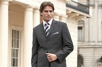 Charcoal Birdseye Three-Button Classic Suit<br>