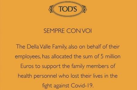 Марка Tod's учредила фонд поддержки семей, пострадавших от коронавируса