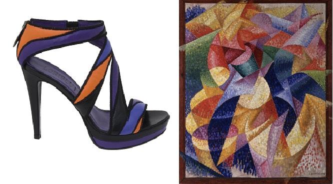 дизайнеры Loriblu, создавая эти босоножки, вдохновлялись работами Джино Северини
