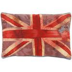 ...две гобеленовые подушки с яркими изображениями губ и британского флага.