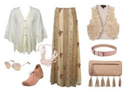 Образ дня в бежевых тонах: блузка Faith Connexion; юбка, жилет и клатч...